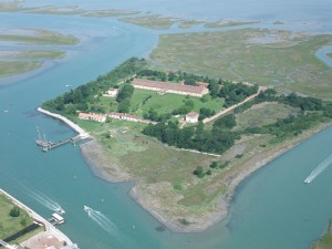 Aerial view of the Old Quarantine Station called Lazzaretto Nuovo