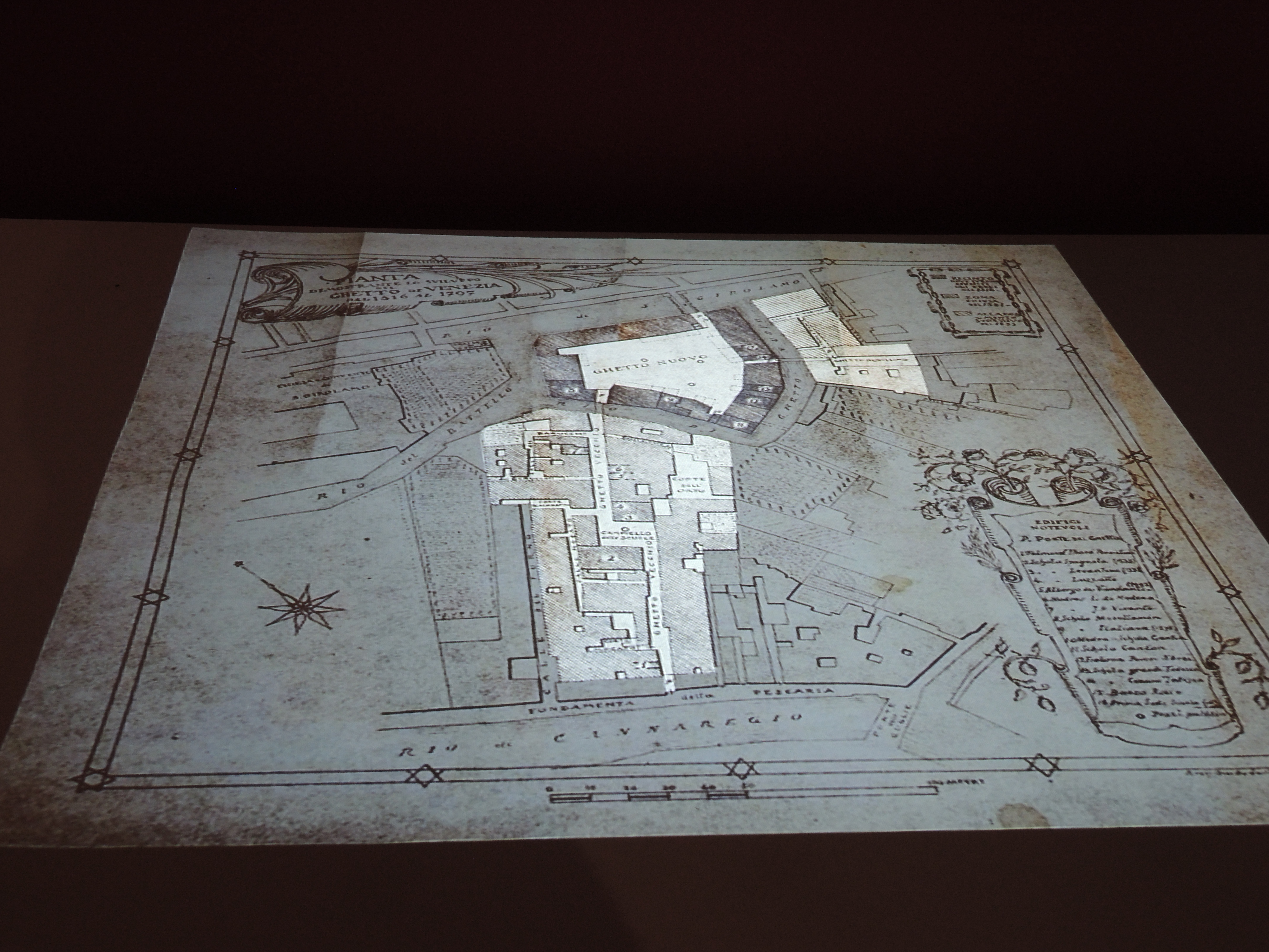 A panel showing the extension of the three Ghettos in Venice