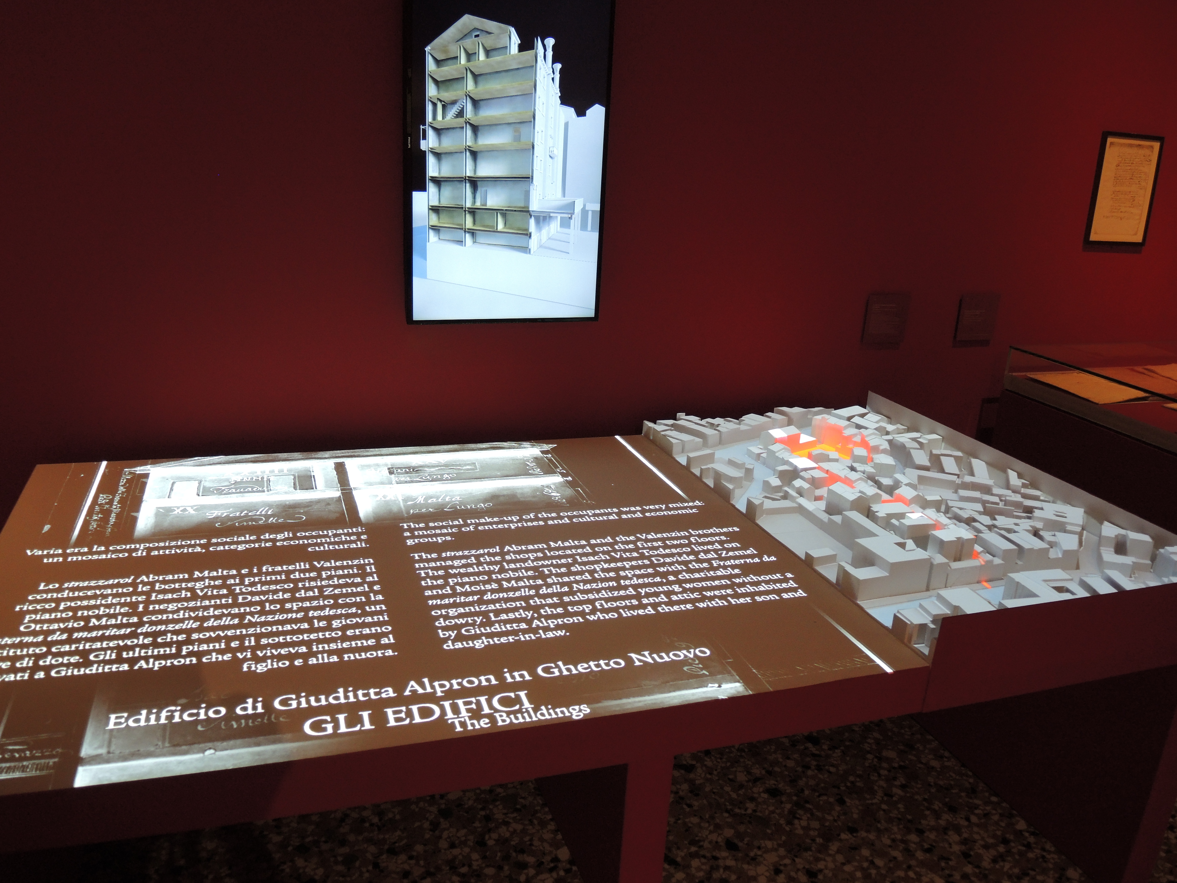 A virtual reconstruction of the Ghetto will explain to visitor the buildings architecture and the use of them through the centuries.