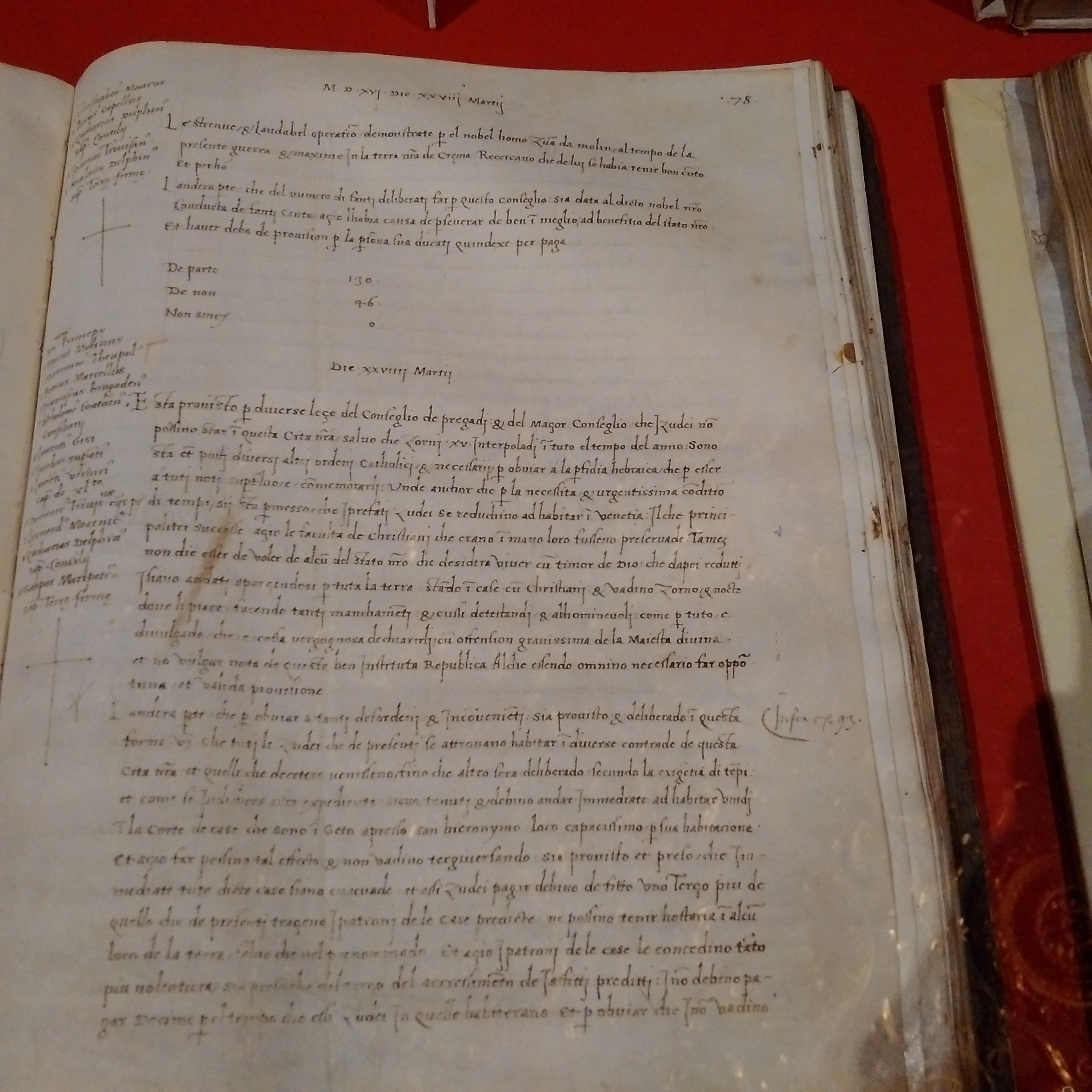 The Senate's journal reporting the decision of creating a separate quarter for Venetian Jews. The date is March 29th 1516