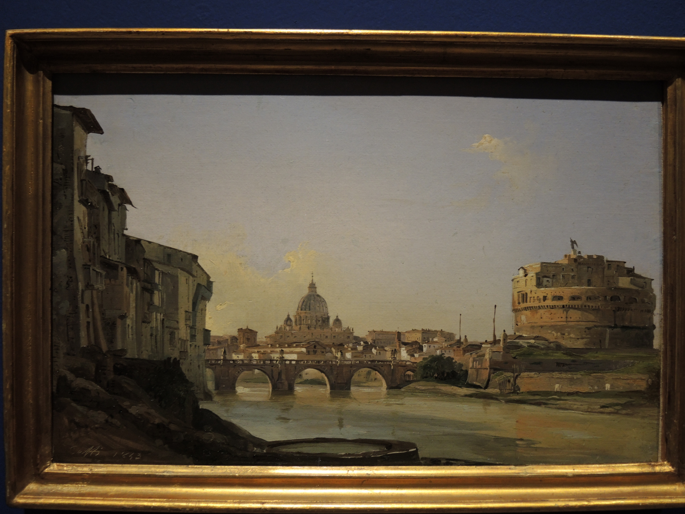 Rome, view of castel Sant'Angelo and St. Peter's dome from the Tiber - 1843