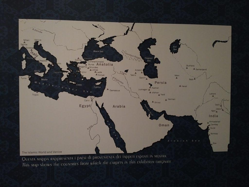 Exhibited carpets provenance map (Zaleski collection)